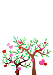 Heart-shaped symbol and tree on the white background