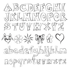 Hand Drawn Alphabet Letters Isolated On White Background