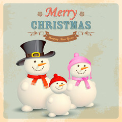Snowman Family in Retro Christmas Background