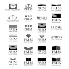 Press Icons Set - Isolated On White Background - Vector
