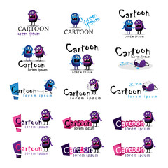 Cartoon Icons Set - Isolated On White Background - Vector
