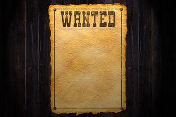 Wanted auf Holz Hintergrund