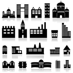 Buildings Silhouette Set - Isolated On White