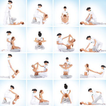 A set of images with a woman getting traditional thai massage