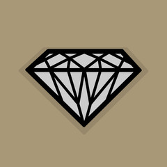 Diamond icon or sign, vector illustration