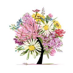 Floral summer bouquet, heart shape for your design