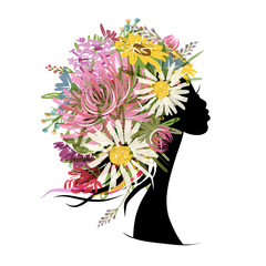 Poster Floral woman Female portrait with floral hairstyle for your design