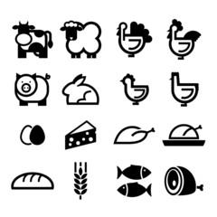 Obraz żywność - zestaw ikon wektorowych - fototapety do salonu