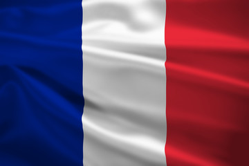 France flag blowing in the wind