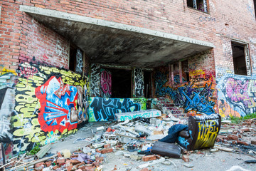Graffiti on the walls of abandoned factory