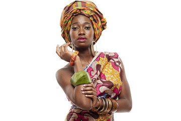 Beautiful African fashion model in traditional dress.