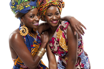 Beautiful African fashion modesl in traditional dress.
