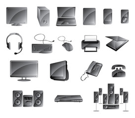 Media Icon Set Glossy Gray Color