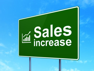 Advertising concept: Sales Increase and Graph on road sign