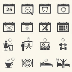 Business Time and Calendar icons set with texture background.