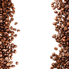 Roasted Coffee Bean background isolated on white background. Clo