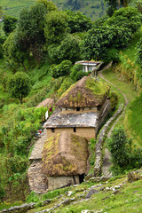 A gurung village in the Annapurna Sanctuary trail. Himalayas, Ne