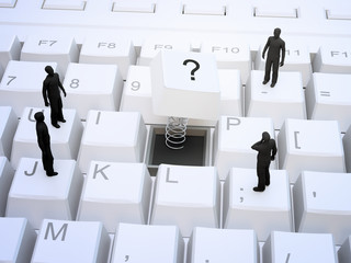 Tiny people standing on a keyboard