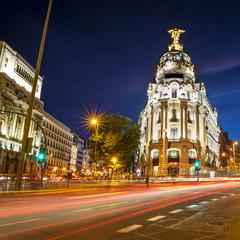 Rays of traffic lights in Madrid