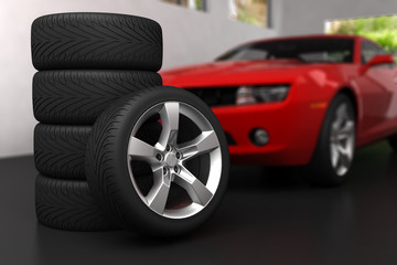 Set of wheels in garage