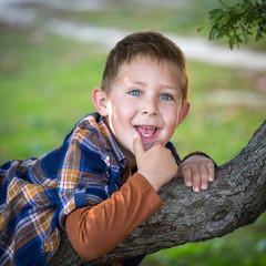 Petit garçon jouant dans un arbre