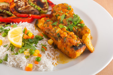 Salmon fillet with basmati rice