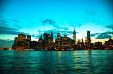New York City cityscape at sunset