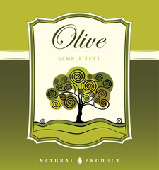 Olive tree. Vector decorative olive tree. For labels, pack.