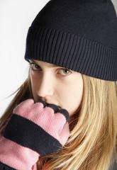 Fashionable Teenage Girl Wearing Cap And scarf