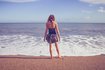 Rear view of young woman standing on beach looking at sea