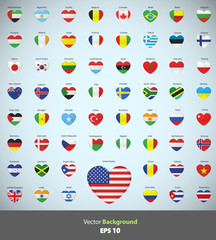 Set of flags heart.