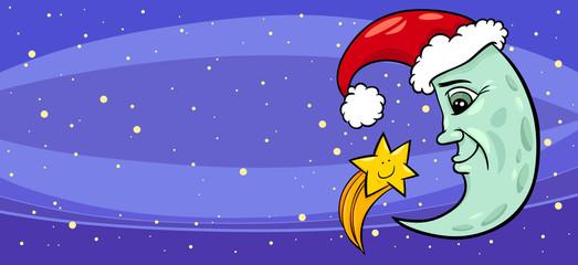 moon with star christmas greeting card