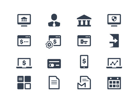 Online banking icons