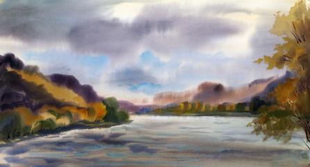 Autumn landscape with mountain lake