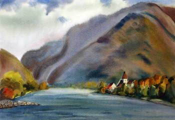 Austrian landscape painted by watercolor