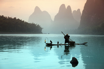Chinese man fishing with cormorants birds Wall mural