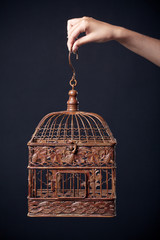 vintage birdcage in female hand isolated on dark background