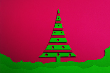 Christmas background with tree, illustration.