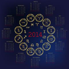 2014 Calendar with horoscope