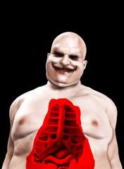 Fat Horrible Clown With Split Chest