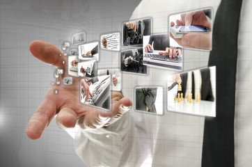 Businessman presenting business images
