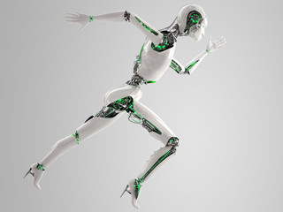robot android women running