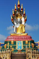Buddha image on blue sky