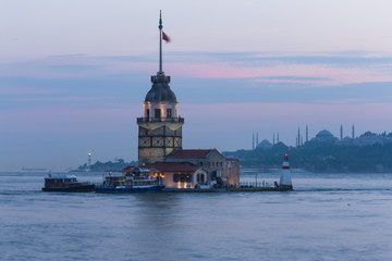 Bosphorus and Miden Tower at Istanbul , Turkey