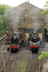 Steam locomotives in Haworth, UK