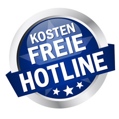 """Button mit Banner """" KOSTENFREIE HOTLINE """""""