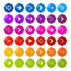 Vector arrow symbols and shapes set, shiny colors, web symbols