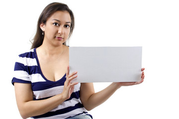 young female holding a blank sign for copyspace