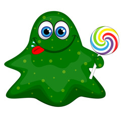 Funny friendly green monster with a lollipop