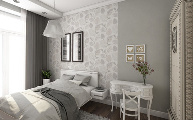 Bright Bedroom In Grey And White Colors